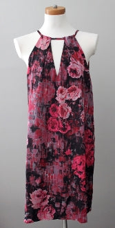 ECI Dark Winter rose floral halter dress