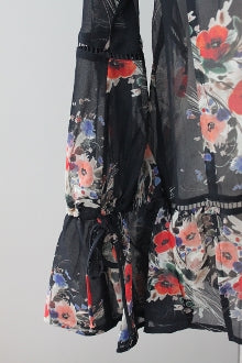WILLOW & CLAY Dark Autumn floral chiffon blouse