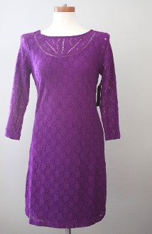 LAUNDRY by SHELLI SEGAL cool winter grape lace dress