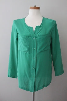 warm spring green button down top