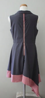 ESLEY Soft Summer retro pink gray dress