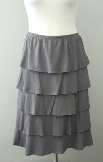 GARNET HILL Soft Summer ruffled tiered gray skirt