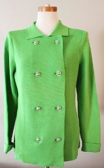 BLOOMINGDALE'S bright spring green sweater jacket.