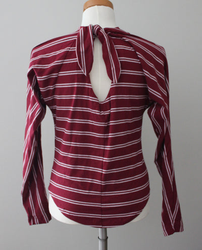 FREE PEOPLE Dark Autumn pink and burgundy striped tie-back top
