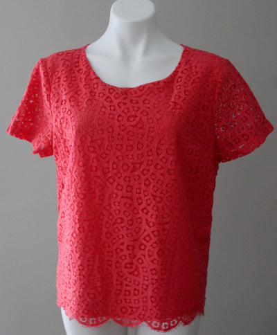 J.CREW Bright Spring coral lace blouse