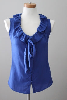BANANA REPUBLIC Light Summer blue ruffle top