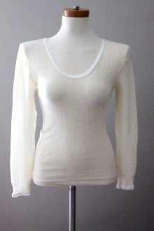 warm spring PURE NEW WOOL ivory top