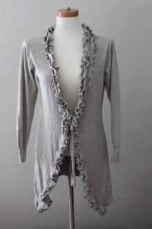 GOA Light Spring gray ruffled cardigan sweater