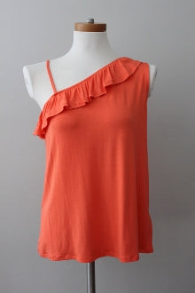 warm spring LOVE, FIRE coral ruffle top