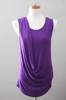 VICTOR ALFARO Bright Winter draping mulberry top