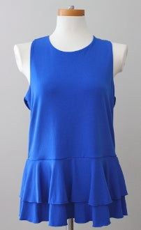 CUPIO Bright Winter cobalt ruffle top