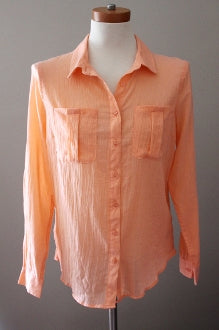 warm spring orange button-down BANANA REPUBLIC shirt