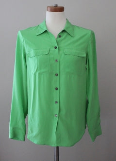 Bright Spring Vince Camuto green silk blouse
