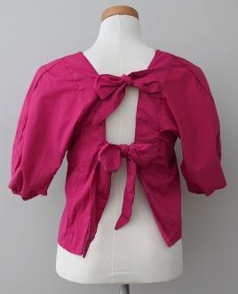 BLEUH CIEL Bright Winter plum bow back top