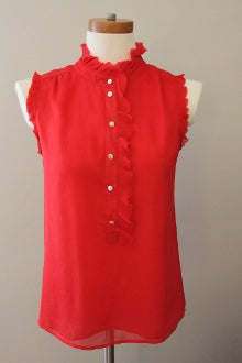 J CREW Bright Spring poppy ruffle top