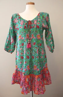 KALYPSO Bright Spring aqua pink boho print dress