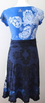 DESIGUAL Dark Winter blue floral print dress