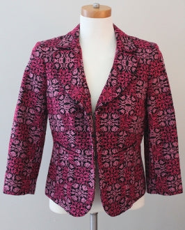 TALBOTS Dark Winter burgundy embroidered print jacket