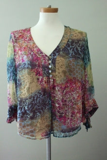 COLDWATER CREEK Dark Autumn Batik Top