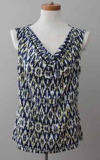 TAHARI Dark Winter print top