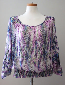 THESIS Dark Winter flowing purple print blouse