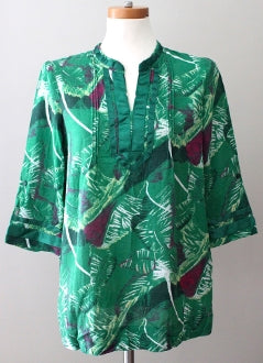 CALVIN KLEIN Dark Winter green print tunic