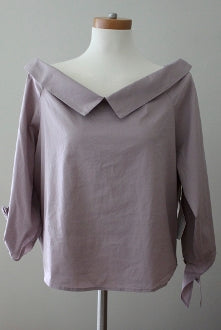 LEITH Cool Summer purple quail blouse