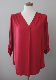 PLEIONE Dark Autumn red beauty tunic