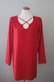 LEITH Bright Spring samba red dress
