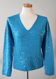 IDENTITY for LORD & TAYLOR Bright Winter blue sequin sweater