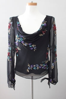 SCALA Bright Winter sequin black romantic top