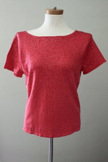 DANA BUCHMAN Dark Winter Deep Coral Sequin Top