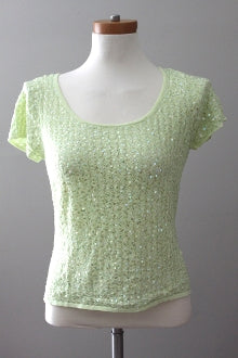 TALBOTS Warm Spring citron green sequins top