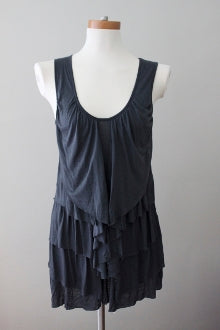 DELETTA for ANTHROPOLOGIE Cool Summer romantic slate top