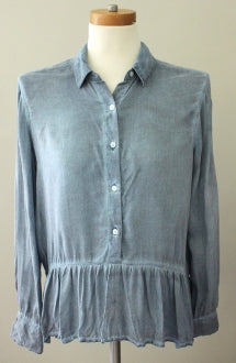ANA Soft Summer slate button down ruffled top