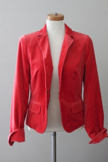 J CREW Warm Spring fire red velvet jacket