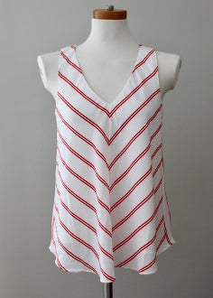 CYNTHIA ROWLEY Bright Winter red white stripe top