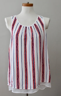 DANIEL RAINN Bright Winter red blue stripe top