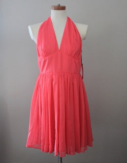 BB DAKOTA Bright Spring tangerine halter dress