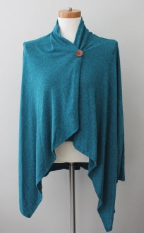 BOBEAU Warm Autumn teal harbor cardigan wrap