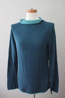 INDIGENOUS One Weave Dark Autumn teal sweater