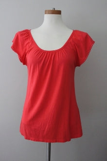 warm spring romantic scoop neck tangerine top