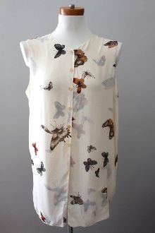 Warm Autumn  Butterfly Print Top w/Scarf
