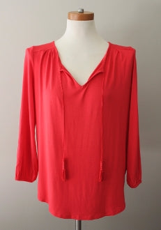 warm spring CUPIO red orange peasant blouse