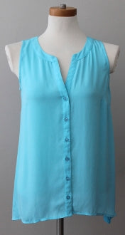 Warm Spring INC turquoise top button-down sleeveless top