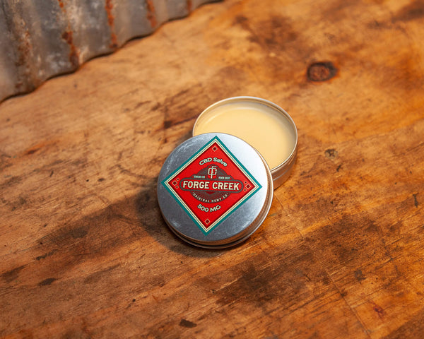 Metal Tin with Red Diamond Label CBD Salve