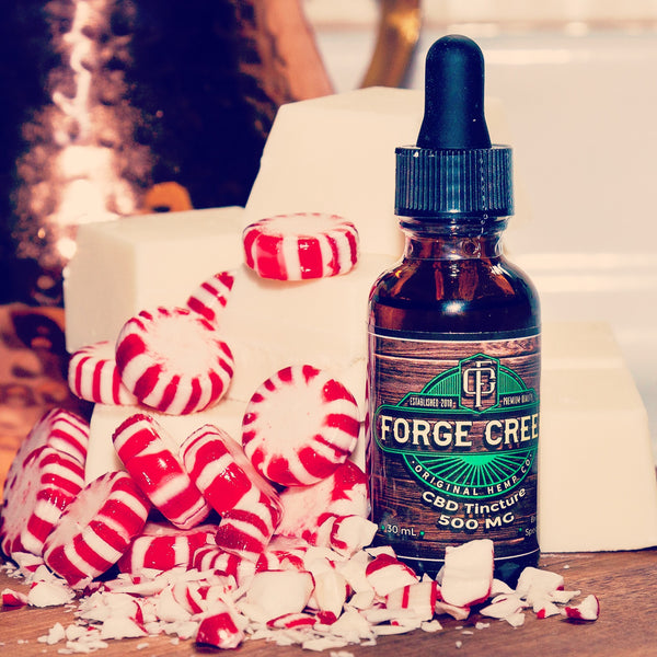 CBD Tincture with Peppermint and White Chocolate in Background