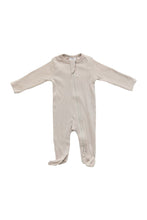 Load image into Gallery viewer, Organic Cotton Ribbed Footed Zipper One-piece in Oatmeal
