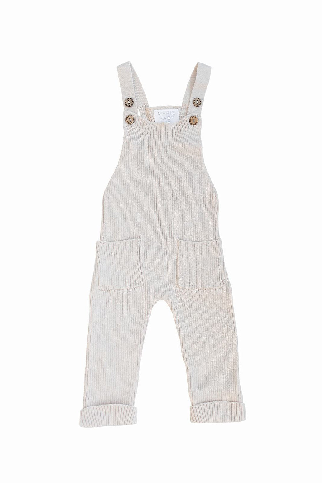 Knit Overalls in Cream