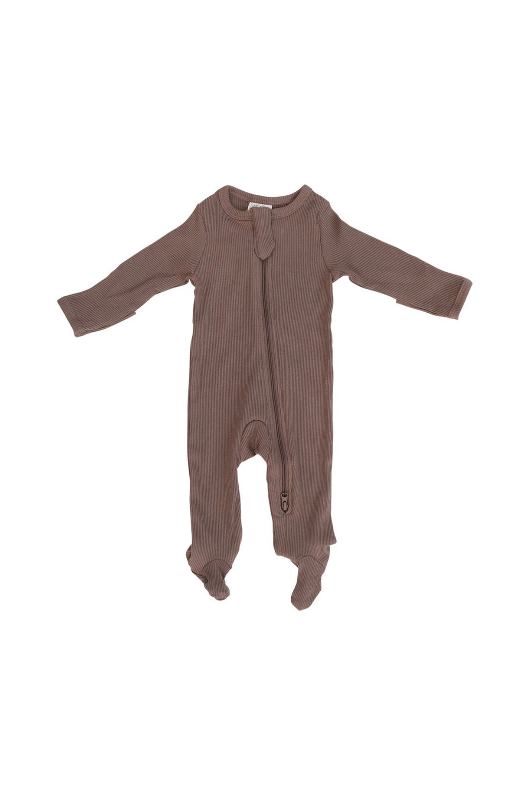 Organic Cotton Ribbed Footed Zipper One-piece in Plum